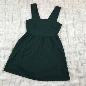 Forest green overall dress with pockets